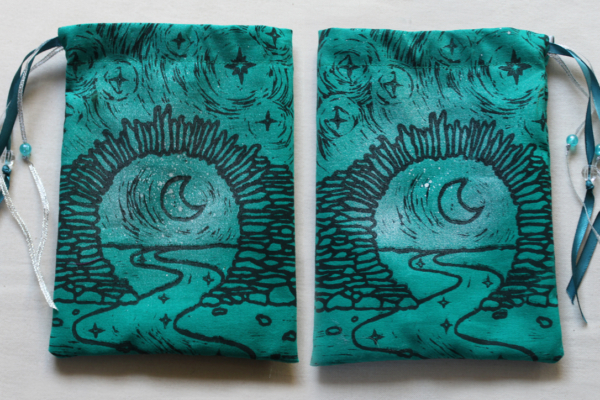 Moon Gate Pouch with Stars from Asian Garden Culture - Teal Coloured Cotton Pouch with SIlver Spray Front and Back - Hand Printed with Hand Carved Lino Stamp