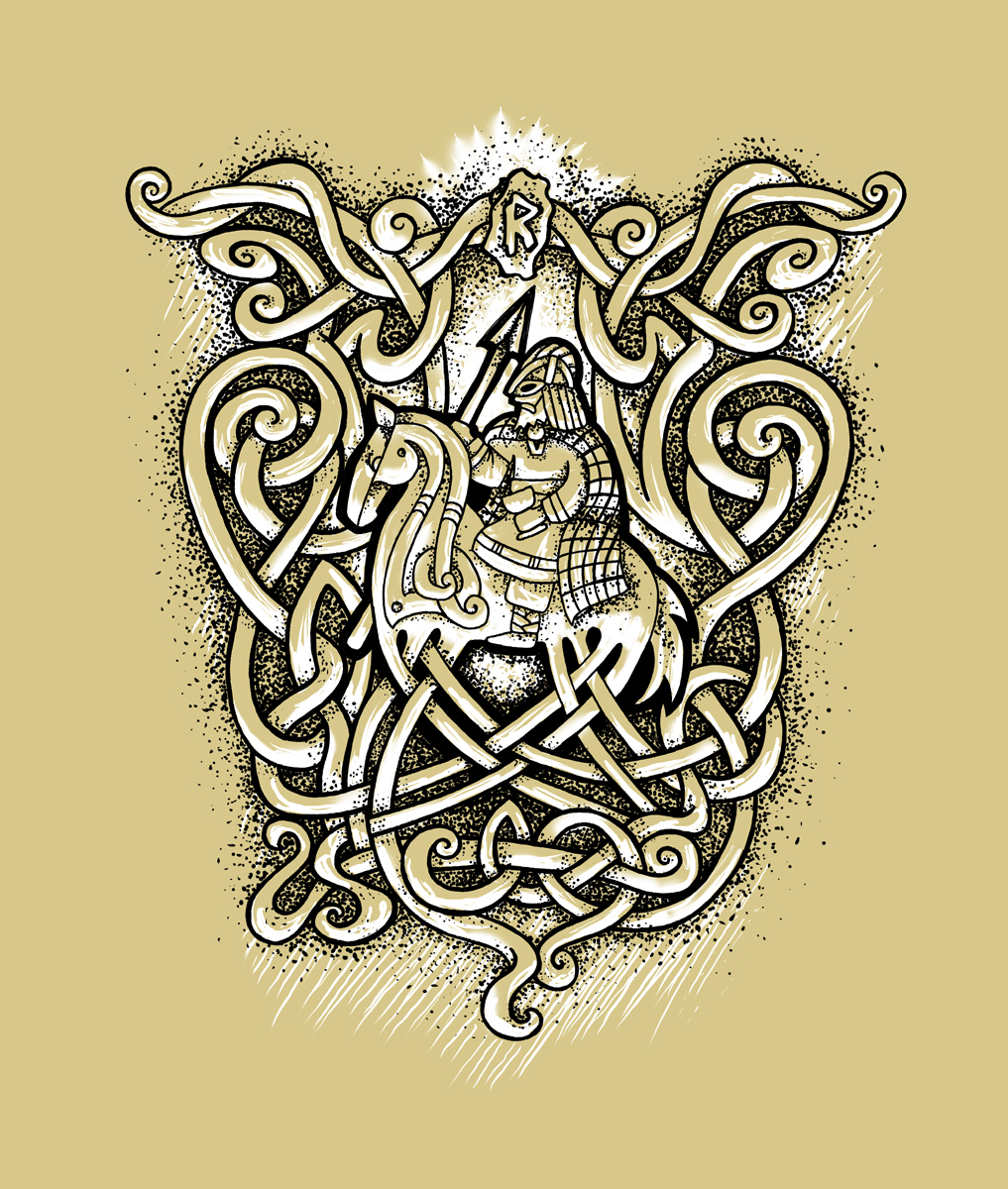 Odin and Sleipnir Tattoo Design with Valknut and Knotwork Motif - Detailed Design Colour - Fineliner Pen Drawing by Imogen Smid