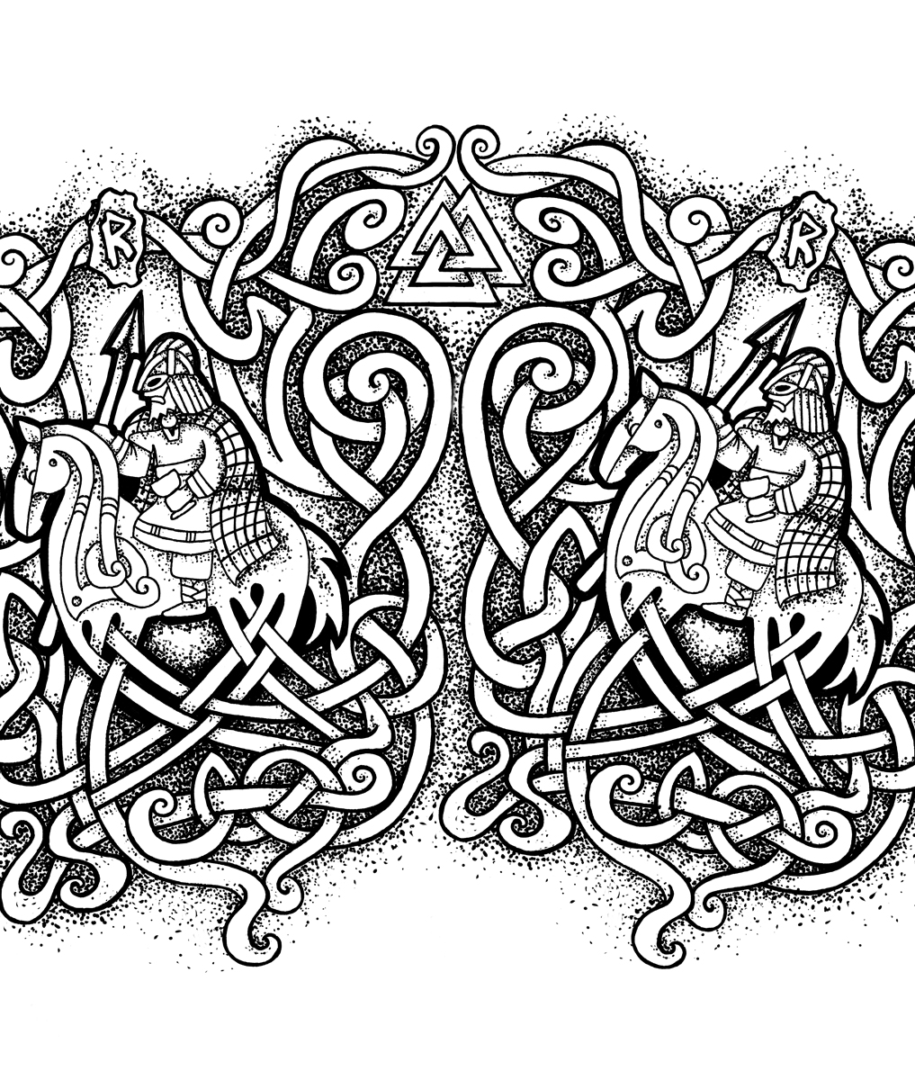 Odin and Sleipnir Tattoo Design with Valknut and Knotwork Motif - Wrap Around Sleeve Tattoo - Fineliner Pen Drawing by Imogen Smid