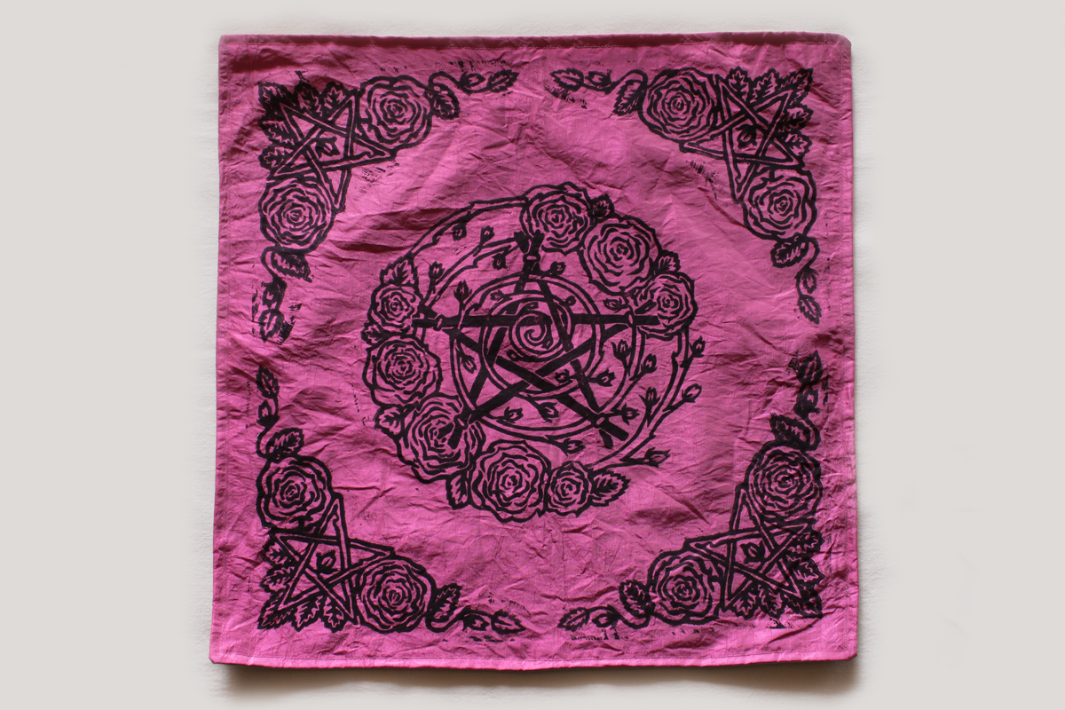 Pentagram and Roses Altar Cloth with Rosebud Spiral inspired by Greek Goddess Aphrodite - Pink Taffeta Full Cloth - Hand Printed with Hand Carved Lino Stamp
