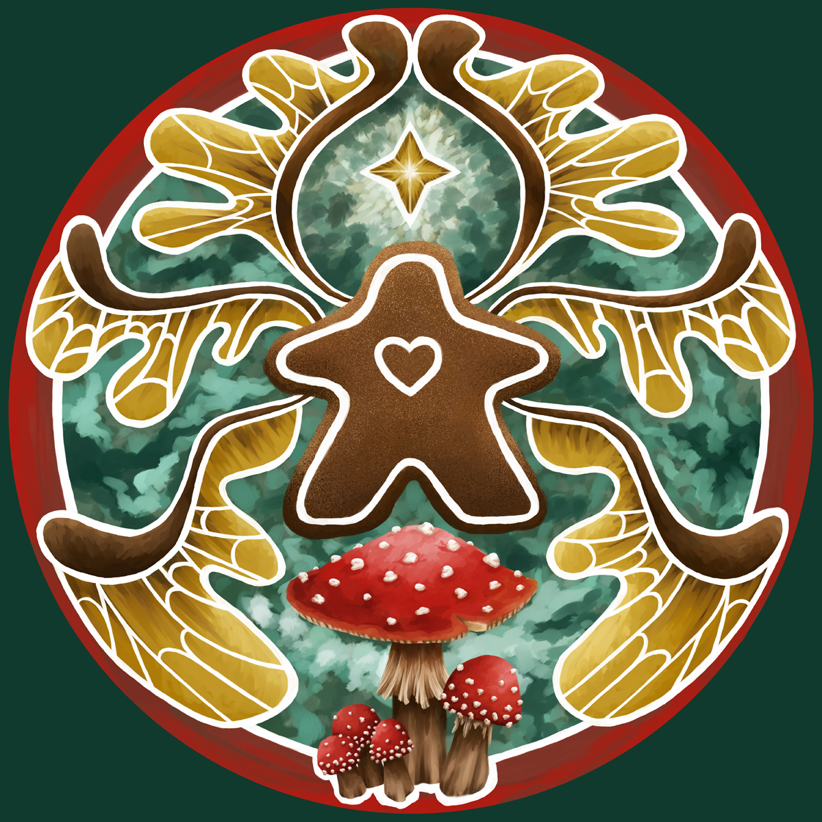 Christmas Gingerbread Meeple Faerie featuring Toadstools - Pixie Gen Logo, Digital Painting by Imogen Smid