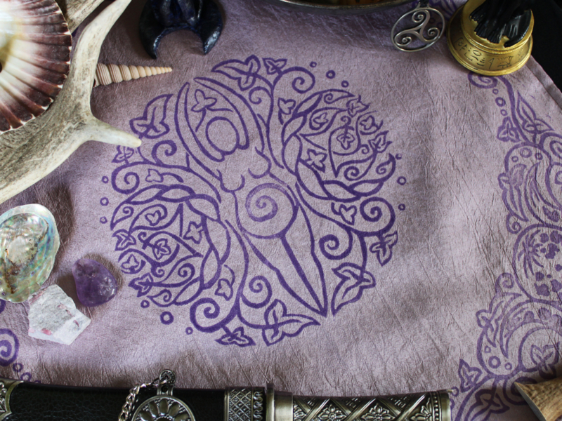 Spiral Goddess Altar Cloth Wiccan Mother Goddess with Triple Moon and Ivy Motif - Pale Purple Taffeta Cloth Close Up - Hand Printed with Hand Carved Lino Stamp