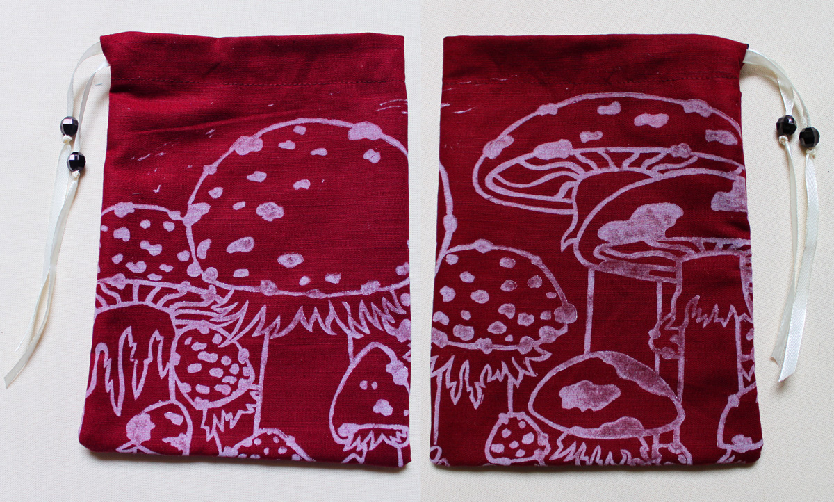 Toadstool Pouch and Lino Cutting Fly Agaric Mushrooms Traditional Printing Technique - Red Cotton Pouch with White Print - Hand Printed with Hand Carved Lino Stamp