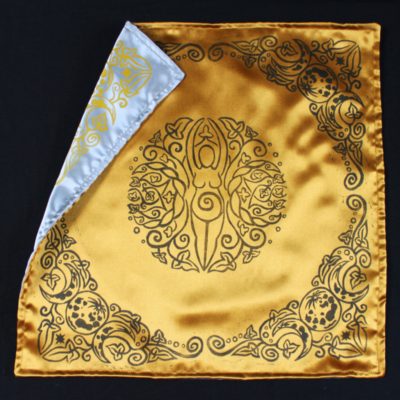 Spiral Goddess Altar Cloth Wiccan Mother Goddess with Triple Moon and Ivy Motif - Gold Coloured Satin Cloth Showing Silver Coloured Satin Reverse Side - Hand Printed with Hand Carved Lino Stamp