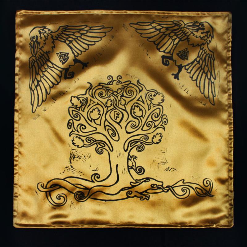 Yggdrasil Altar Cloth featuring Swirly Ash Tree with Ratatoskr, Veðrfölnir and Níðhöggr Nidhogg - Gold Coloured Satin Full Cloth - Hand Printed with Hand Carved Lino Stamp