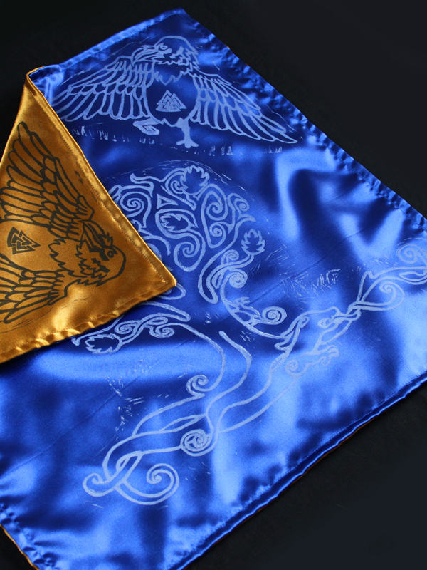 Yggdrasil Altar Cloth featuring Swirly Ash Tree with Ratatoskr, Veðrfölnir and Níðhöggr Nidhogg - Blue Satin Cloth Showing Gold Coloured Satin Reverse Side - Hand Printed with Hand Carved Lino Stamp