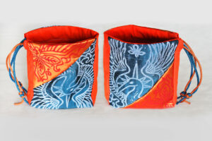 Phoenix Altar Cloth Benu Ibis Phoenix with Myrrh, Cinnamon and a Sun Beam Halo in reference to Greek Titan Helios - Phoenix Bird Freestanding Pouch - Hand Printed with Hand Carved Lino Stamp