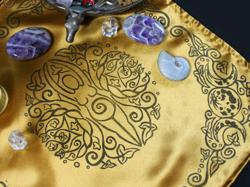 Spiral Goddess Altar Cloth Wiccan Mother Goddess with Triple Moon and Ivy Motif - Gold Coloured Satin Cloth with Black Print - Hand Printed with Hand Carved Lino Stamp