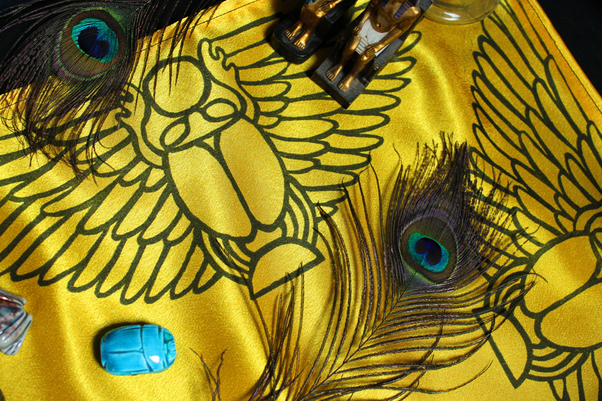 Scarab Altar Cloth Winged Scarab God Khepri with Sun Disc - Yellow Satin Cloth Scarab Detail - Hand Printed with Hand Carved Lino Stamp