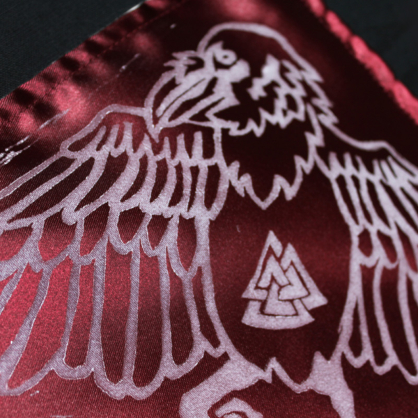 Odin's Familiars Altar Cloth featuring Sleipnir, Huginn and Muninn with Valknut - Burgundy Satin Cloth White Raven Corner Print - Hand Printed with Hand Carved Lino Stamp