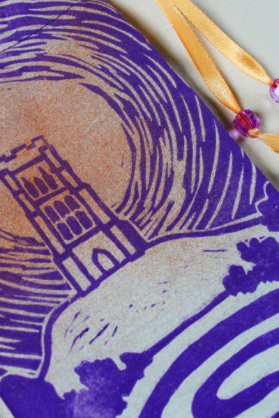 Glastonbury Tor Pouch, Mystical Avalon Tower on Hill with Glastonbury Spiral White Spring - Unbleached Cotton Pouch with Copper Spray and Purple Printing - Hand Printed with Hand Carved Lino Stamp
