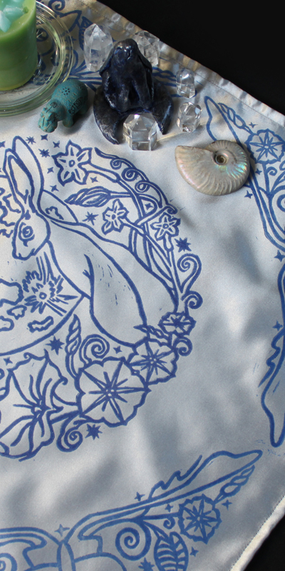 Moongazing Hare Altar Cloth with Full Moon, Moon Moth or Lunar Moth, Stars and Moon Flowers - Silver Satin Cloth with Altar Items - Hand Printed with Hand Carved Lino Stamp