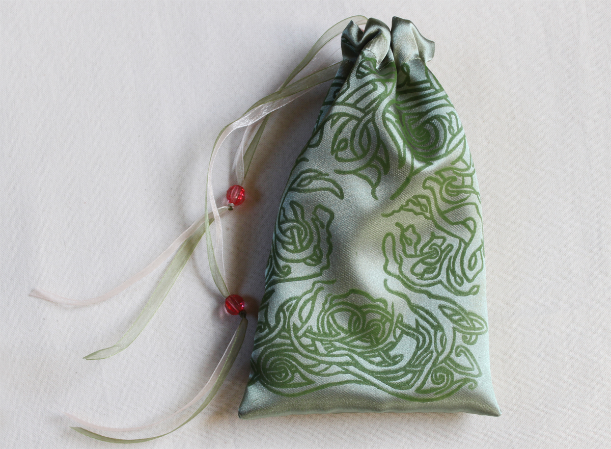 Celtic Tree Pouch Celtic Knotwork Motif Tree with Leaves - Antique Green Satin Pouch with Pale Pink Details Closed - Hand Printed with Hand Carved Lino Stamp