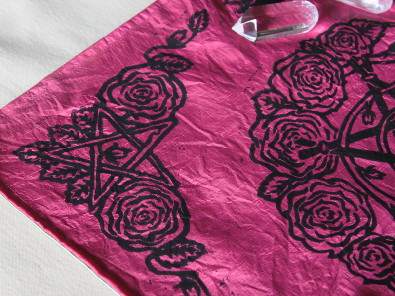 Pentagram and Roses Altar Cloth with Rosebud Spiral inspired by Greek Goddess Aphrodite - Pink Taffeta Cloth Pentagram and Roses Corner Piece - Hand Printed with Hand Carved Lino Stamp