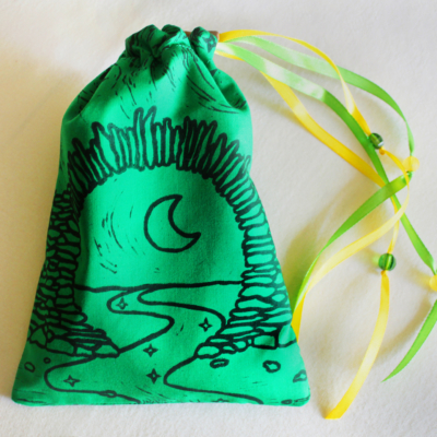 Moon Gate Pouch with Stars from Asian Garden Culture - Green Cotton Pouch with Yellow Details - Hand Printed with Hand Carved Lino Stamp