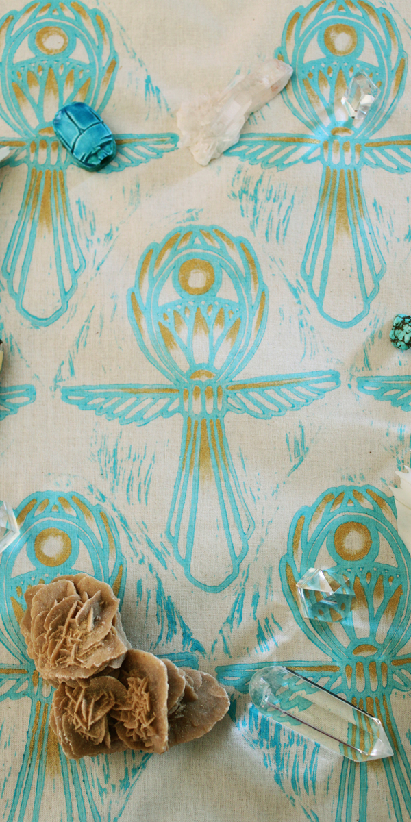 Ankh Altar Cloth with Sun Disc, Feathered Wings and Papyrus Flower Details - Ankh Altar Cloth with Attributes - Hand Printed with Hand Carved Lino Stamp and Hand Painted Gold Details