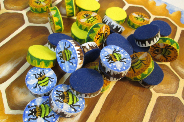 """""""Ludus Duodecim Scriptorum"""" (Game of the Twelve Markings) - Roman Bee Board Game Featuring Winter Bees, Summer Bees and Honeycomb - Pile of Mixed Bee Playing Pieces - Hand Painted by Imogen Smid"""