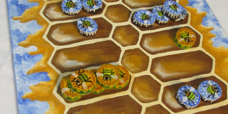 """""""Ludus Duodecim Scriptorum"""" (Game of the Twelve Markings) - Roman Bee Board Game Featuring Winter Bees, Summer Bees and Honeycomb - Board with Playing Pieces - Hand Painted by Imogen Smid"""