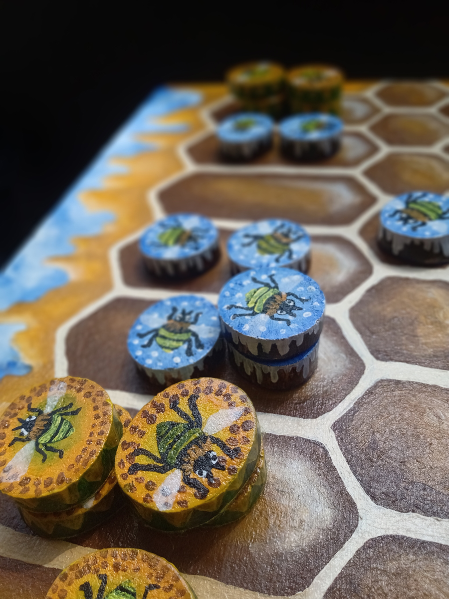 """""""Ludus Duodecim Scriptorum"""" (Game of the Twelve Markings) - Roman Bee Board Game Featuring Winter Bees, Summer Bees and Honeycomb - Pieces Close Up on Game Board - Hand Painted by Imogen Smid"""