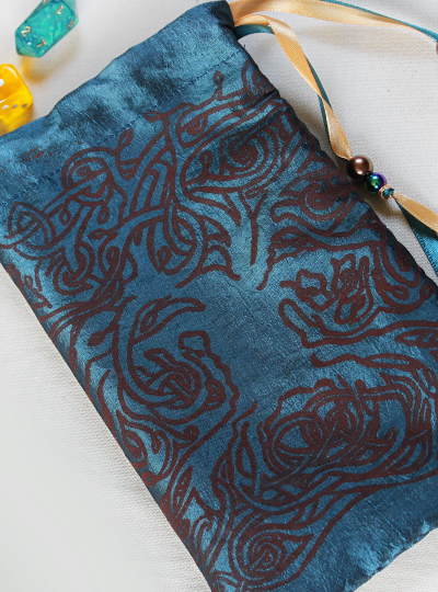 Celtic Tree Pouch Celtic Knotwork Motif Tree with Leaves - Gallery Tile - Hand Printed with Hand Carved Lino Stamp