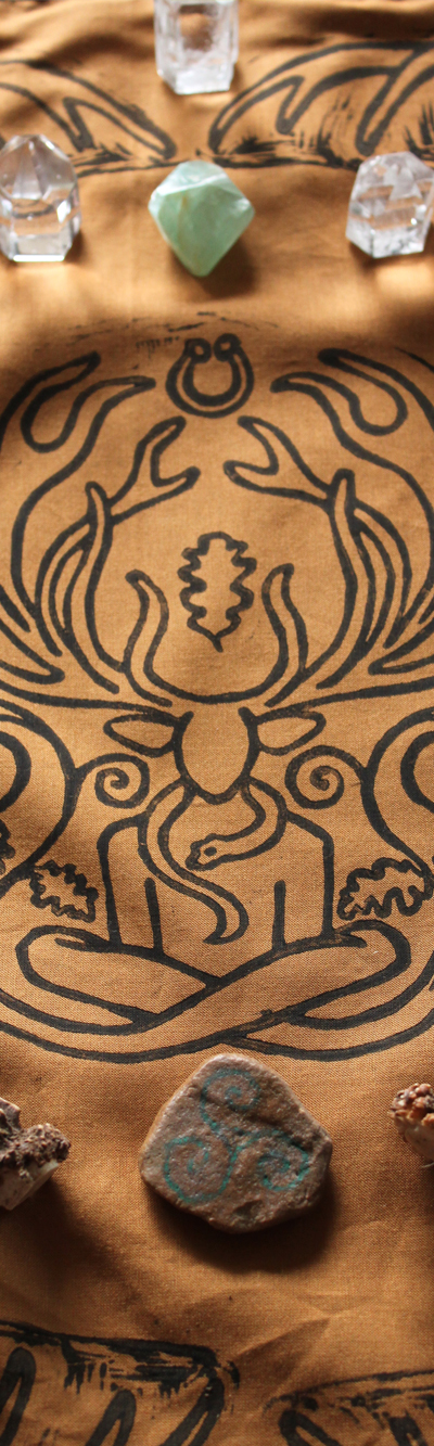 Cernunnos Altar Cloth Herne the Horned God Ancient Forest Fertillity Deity with Stag Antlers Celtic Torc Necklace, Snake and Oak Leaves - Gallery Tile - Hand Printed with Hand Carved Lino Stamp