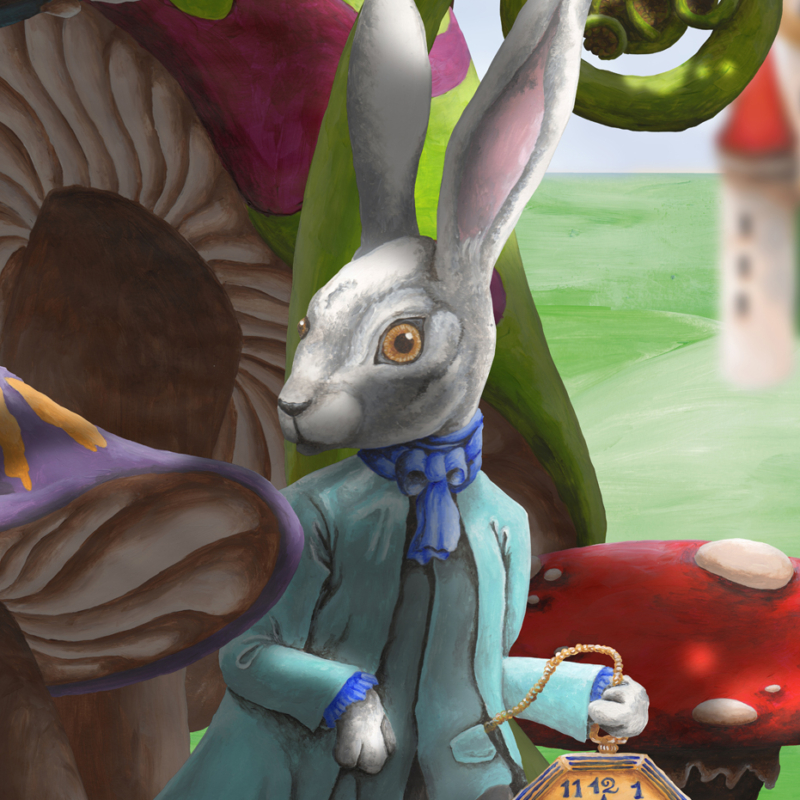 Wonderland Festival Banners featuring Toadstools, Caterpillar, White Rabbit, Red Queen's Castle and Ferns - White Rabbit Detail - Acrylic Painting and Digitally Collaged together by Imogen Smid