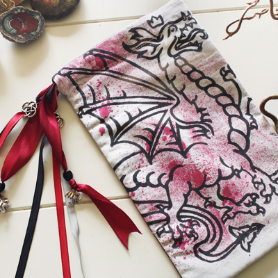 Heraldic Dragon Pouch Traditional Styled Four Legged Winged Dragon with Crown - Gallery Tile - Hand Printed with Hand Carved Lino Stamp