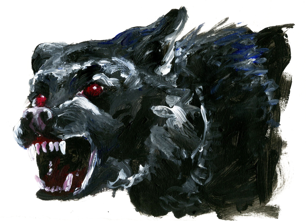 The Black Shuck Omen of Death featured in The Tales of Norfolk written by John Ling published by Amberley Books - Originally painted in Acrylics by Imogen Smid