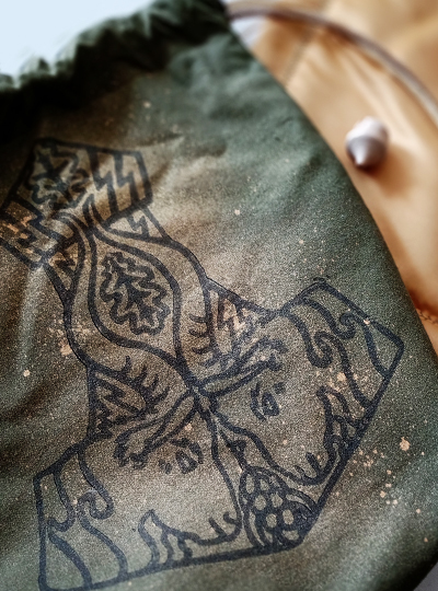 Mjollnir Pouch and Runes Cloth Set Thor's Hammer with Thor's Goats Tanngrisnir and Tanngnjóstr, Oak Leaves and Grains - Gallery Tile - Hand Printed with Hand Carved Lino Stamp