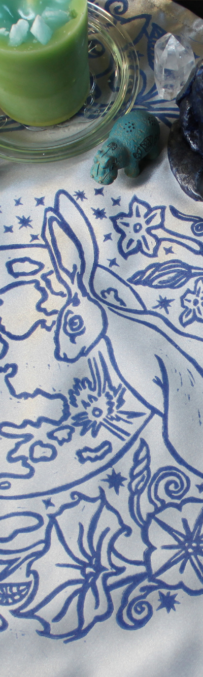 Moongazing Hare Altar Cloth with Full Moon, Moon Moth or Lunar Moth, Stars and Moon Flowers - Gallery Tile - Hand Printed with Hand Carved Lino Stamp