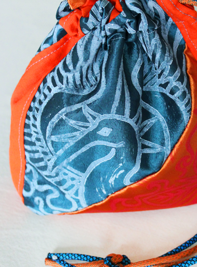 Phoenix Altar Cloth Benu Ibis Phoenix with Myrrh, Cinnamon and a Sun Beam Halo in reference to Greek Titan Helios - Gallery Tile - Hand Printed with Hand Carved Lino Stamp