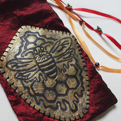 Royal Bee Pouch with Gold Painted Leather Patch Honey Bee with Honeycomb and dripping with Honey - Gallery Tile - Hand Printed with Hand Carved Lino Stamp