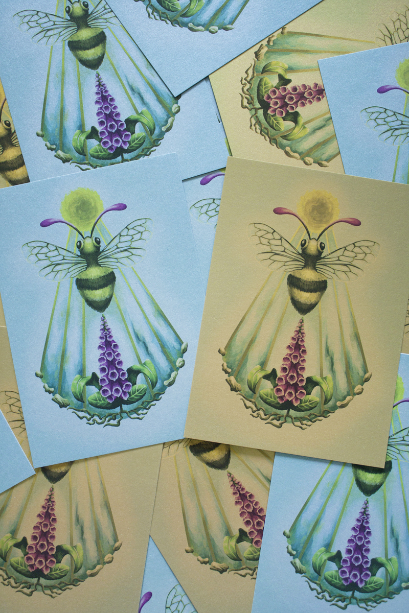 Sacro Nectare featuring Honey Bee, Sun Disc, Sean Beams and Digitalis Plant (Foxglove) to be used as Roleplay Druid Sigil - Silver and Gold Postcards - Digital Painting by Imogen Smid