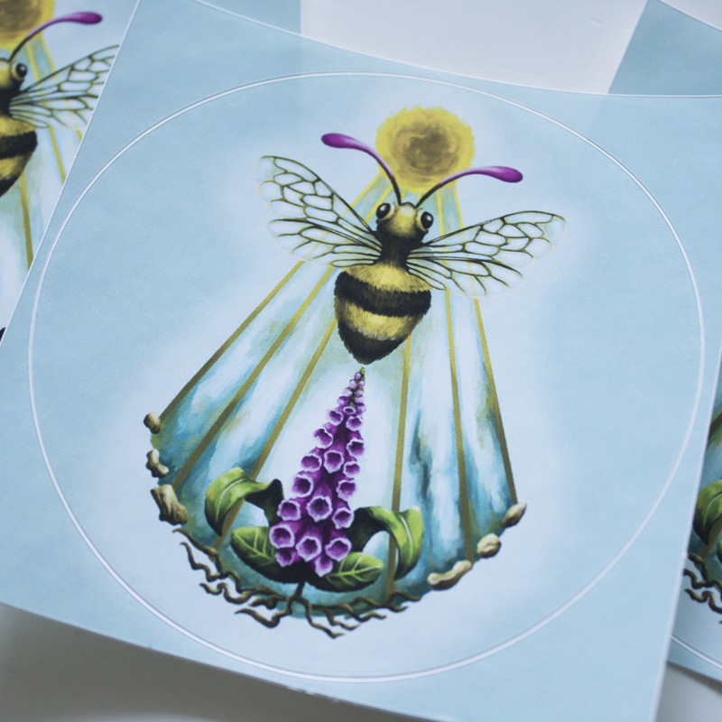 Sacro Nectare featuring Honey Bee, Sun Disc, Sean Beams and Digitalis Plant (Foxglove) to be used as Roleplay Druid Sigil - Round Stickers - Digital Painting by Imogen Smid