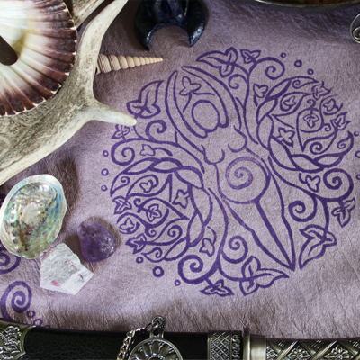 Spiral Goddess Altar Cloth Wiccan Mother Goddess with Triple Moon and Ivy Motif - Gallery Tile - Hand Printed with Hand Carved Lino Stamp