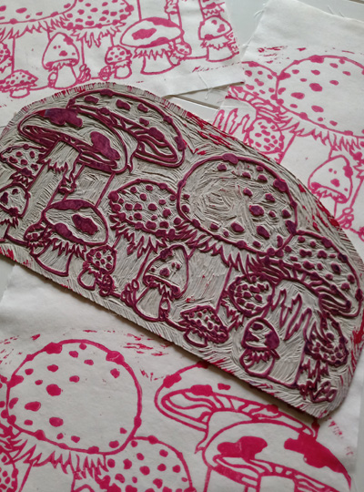 Toadstool Pouch and Lino Cutting Fly Agaric Mushrooms Traditional Printing Technique - Gallery Tile - Hand Printed with Hand Carved Lino Stamp
