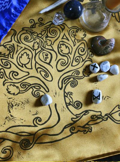 Yggdrasil Altar Cloth featuring Swirly Ash Tree with Ratatoskr, Veðrfölnir and Níðhöggr Nidhogg - Gallery Tile - Hand Printed with Hand Carved Lino Stamp